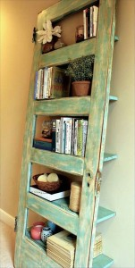 upcycle old door into shelves