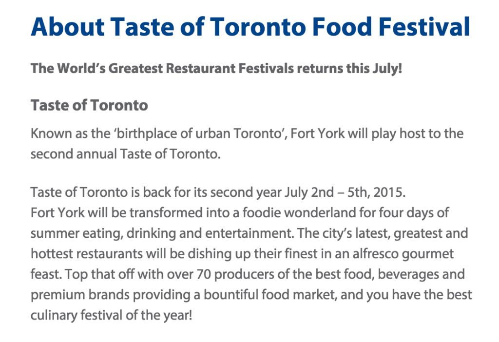 Taste of Toronto info