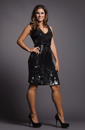 Black V-Neck Sleeveless Dress with Beading and Paillettes by Tracy Reese
