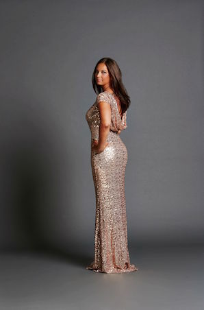 Rose Gold Cap Sleeve Gown with Cowl Back by Badgley Mischka